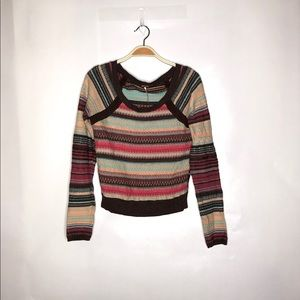 Free People Colorful Knit Sweater Size L